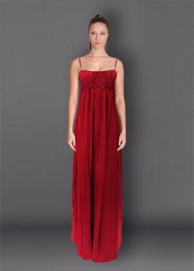 שמלת ערב משי תחרה אדומה R2531