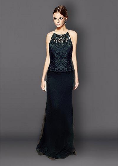 שמלות תחרה שחורות ארוכות TIT2236