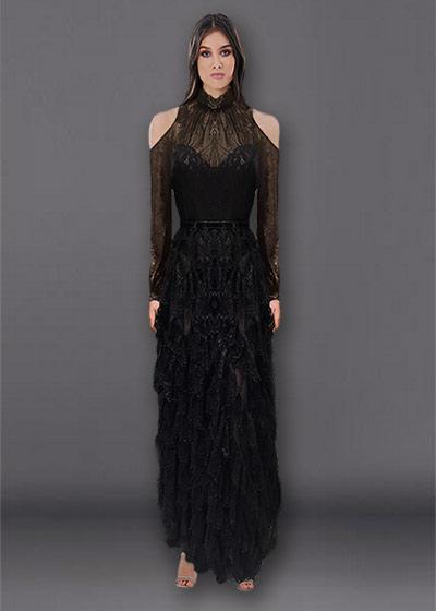 שמלת ערב ארוכה תחרה